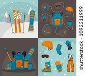 snowboarding equipment ski... | Shutterstock .eps vector #1092311999