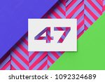 white paper cut number 47 on... | Shutterstock . vector #1092324689