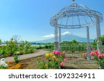 pink  yellow rose and mt. fuji | Shutterstock . vector #1092324911