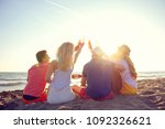 group of happy young people... | Shutterstock . vector #1092326621