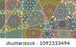 vector patchwork quilt pattern. ...   Shutterstock .eps vector #1092333494