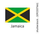 flag of jamaica with name icon. ... | Shutterstock .eps vector #1092337661