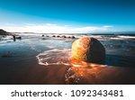 dunedin boulders in sunset | Shutterstock . vector #1092343481