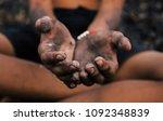hands poor child begging you... | Shutterstock . vector #1092348839
