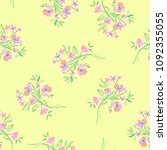 little pink flowers on a yellow ... | Shutterstock .eps vector #1092355055