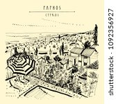 upper view of paphos  cyprus ... | Shutterstock .eps vector #1092356927