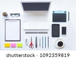 white desk office with laptop ... | Shutterstock . vector #1092359819