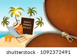 seaside vacation vector. travel ... | Shutterstock .eps vector #1092372491