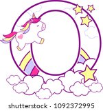 initial o with cute unicorn and ... | Shutterstock .eps vector #1092372995