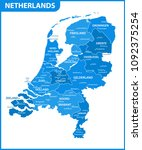 the detailed map of netherlands ... | Shutterstock .eps vector #1092375254