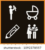 set of 4 baby filled icons such ... | Shutterstock .eps vector #1092378557