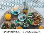 vegetarian salad bowl with...   Shutterstock . vector #1092378674
