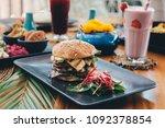 halloumi cheese vegetarian...   Shutterstock . vector #1092378854