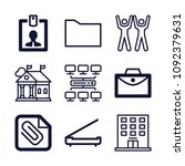 set of 9 office outline icons... | Shutterstock .eps vector #1092379631