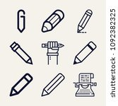set of 9 writing outline icons... | Shutterstock .eps vector #1092382325