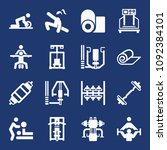 set of 16 gym filled icons such ... | Shutterstock .eps vector #1092384101