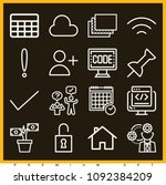 set of 16 web outline icons... | Shutterstock .eps vector #1092384209