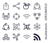 set of 16 connection outline...   Shutterstock .eps vector #1092384515