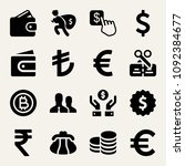 set of 16 money filled icons... | Shutterstock .eps vector #1092384677
