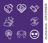 set of 8 gestures outline icons ... | Shutterstock .eps vector #1092390839