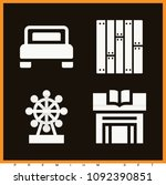 set of 4 buildings filled icons ... | Shutterstock .eps vector #1092390851
