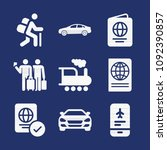 set of 9 travel filled icons... | Shutterstock .eps vector #1092390857