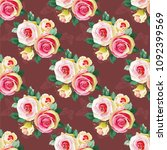 seamless floral pattern with... | Shutterstock .eps vector #1092399569