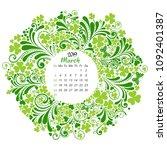 calendar 2019. week starts from ... | Shutterstock . vector #1092401387