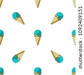 blue ice cream in cone.... | Shutterstock .eps vector #1092409151