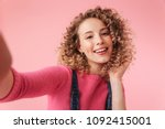 portrait of happy young girl... | Shutterstock . vector #1092415001