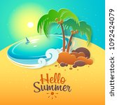 hello summer. landscape  ... | Shutterstock .eps vector #1092424079