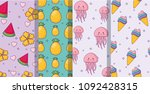 fruits and cute jellyfishs... | Shutterstock .eps vector #1092428315