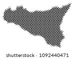 abstract sicilia map. vector... | Shutterstock .eps vector #1092440471