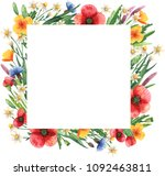 square frame with wildflowers.... | Shutterstock . vector #1092463811