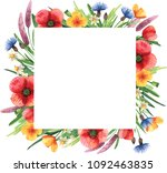 square frame with wildflowers.... | Shutterstock . vector #1092463835