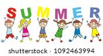 happy kids and inscription... | Shutterstock .eps vector #1092463994
