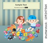 kids with toys vector | Shutterstock .eps vector #109247564