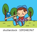 pinocchio is telling with a... | Shutterstock .eps vector #1092481967