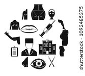 plastic surgeon icons set....   Shutterstock .eps vector #1092485375