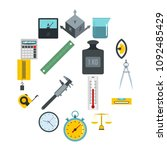 measure precision icons set in... | Shutterstock .eps vector #1092485429