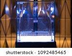 neat cube empty glass showcase... | Shutterstock . vector #1092485465