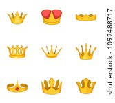 crowned person icons set.... | Shutterstock .eps vector #1092488717