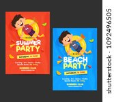 kids summer party flyer ... | Shutterstock .eps vector #1092496505