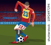 soccer gameplay. close up of... | Shutterstock .eps vector #1092497294