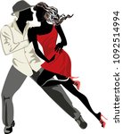 romantic couple in passionate... | Shutterstock .eps vector #1092514994