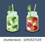 detox energetic cocktails set ... | Shutterstock .eps vector #1092527135