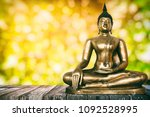 ancient buddha image on wooden...   Shutterstock . vector #1092528995