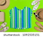 summer yellow clothes collage... | Shutterstock . vector #1092535151