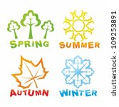 colorful seasons icons | Shutterstock .eps vector #109253891