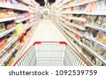 Small photo of Abstract blur supermarket aisle with can food and snack product on shelves defocused background